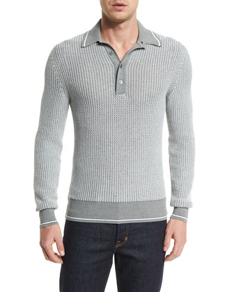 Textured Long-Sleeve Polo Shirt, Gray