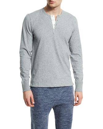 Long-Sleeve Marl Jersey Henley Shirt, Light Gray