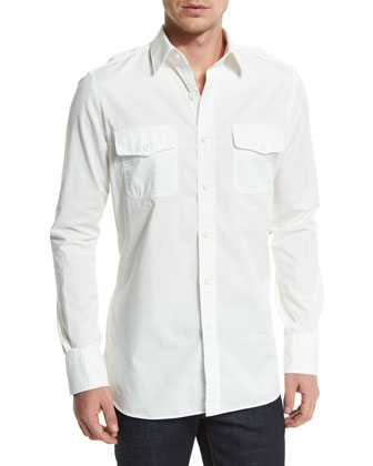 Military-Style Washed Twill Sport Shirt, White