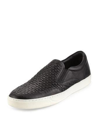 Baxter Woven Leather Slip-On Sneaker, Black