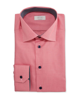 Contemporary-Fit Micro-Gingham Dress Shirt, Red