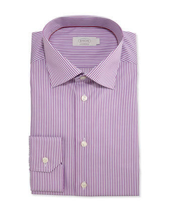 Contemporary-Fit Bengal-Stripe Dress Shirt, Purple
