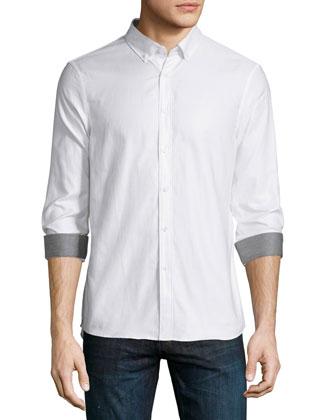 Dobby Slim-Fit Sport Shirt, White