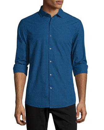 Slim-Fit Check Long-Sleeve Sport Shirt, Navy