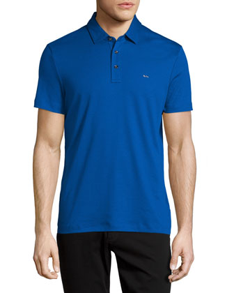 Sleek Short-Sleeve Polo Shirt, Blue