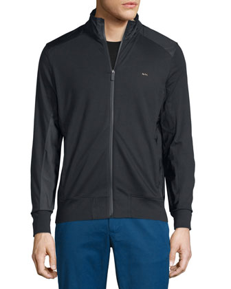 Zip-Up Track Jacket with Nylon Trim, Black
