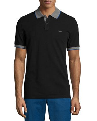 Tape-Tipped Short-Sleeve Pique Polo Shirt, Black