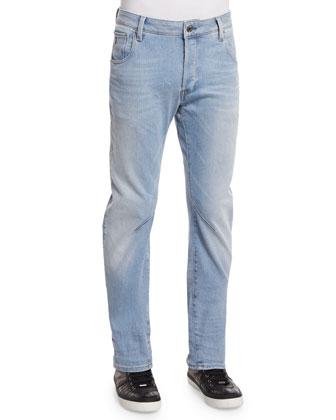 Arc 3D Aged Slim Denim Jeans, Light Blue