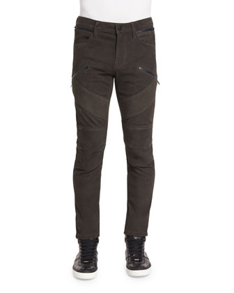Orton Nubuck Leather Moto Pants, Taupe