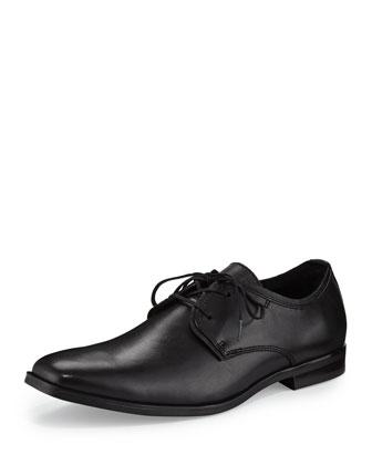 Leather Square-Toe Oxford, Black