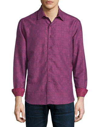 Captain Merrill Printed Sport Shirt, Berry