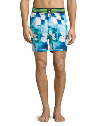 Floral Paradise Swim Trunks, Multi