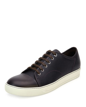Grainy Leather Low-Top Sneaker, Purple