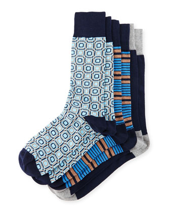 Men's Three-Pair Sock Set, Assorted