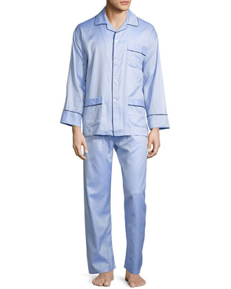 Textured Woven Two-Piece Pajama Set, Light Blue