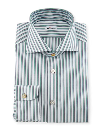 Rope-Striped Woven Dress Shirt, White/Navy/Green