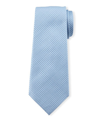 Diamond-Grid Silk Tie, Blue