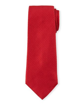 Diamond-Grid Silk Tie, Red