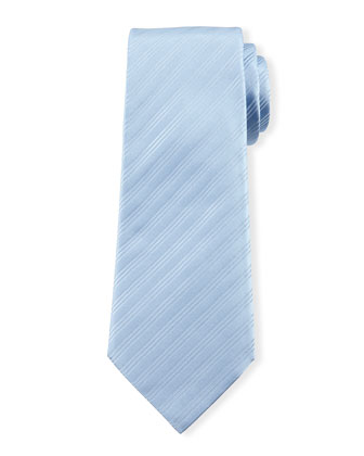Skinny-Striped Silk Tie, Light Blue