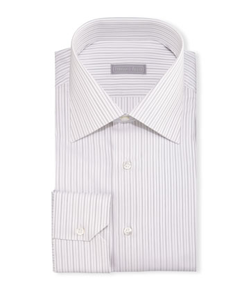 Fancy-Stripe Barrel-Cuff Dress Shirt, Black