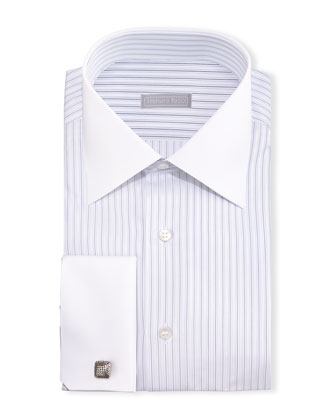 Contrast-Collar French-Cuff Striped Dress Shirt, Blue