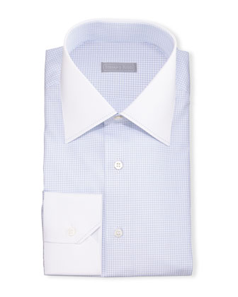 Contrast-Collar Check Dress Shirt, Blue