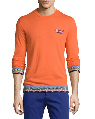 Embroidered-Trim Long-Sleeve Sweater, Orange