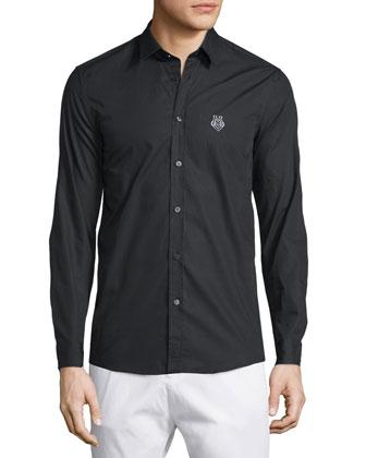 Long-Sleeve Button-Front Dress Shirt, Black