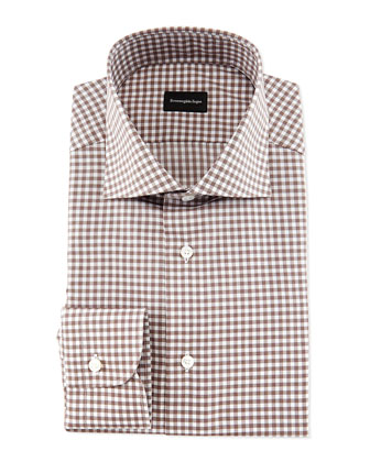 Gingham Woven Dress Shirt, Brown