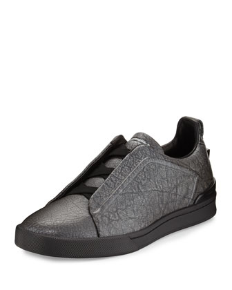 Metallic Leather Slip-On Sneaker, Silver