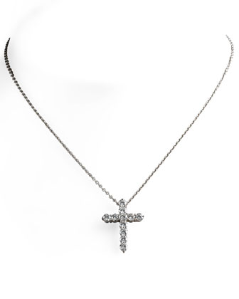 Diamond Cross Pendant Necklace, Large