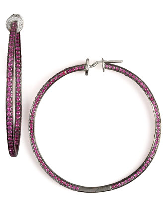 Three-Sided Ruby Hoops