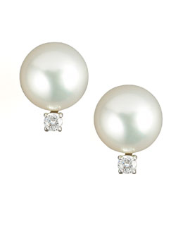 Assael Diamond & Pearl Stud Earrings