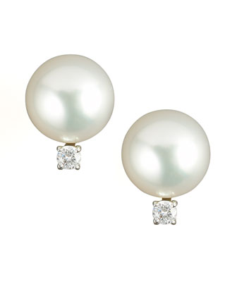 Diamond & Pearl Stud Earrings