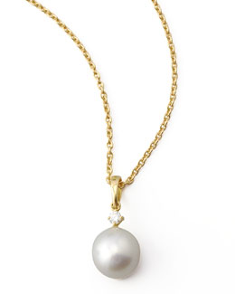 Assael Diamond South Sea Drop Necklace