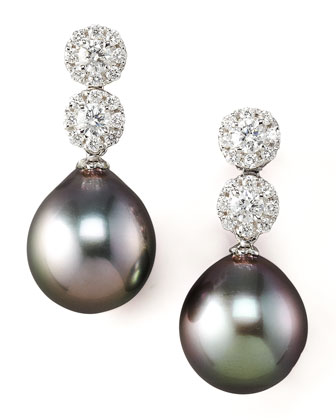 Diamond & Pearl Drop Earrings