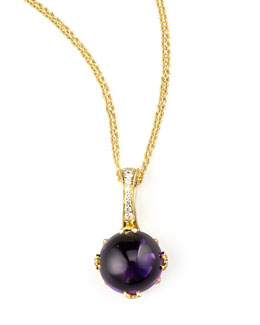 Frederic Sage Round Jelly Bean Amethyst & Diamond Pendant Necklace