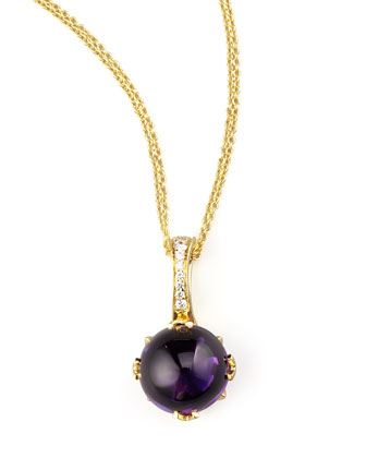 Round Jelly Bean Amethyst & Diamond Pendant Necklace