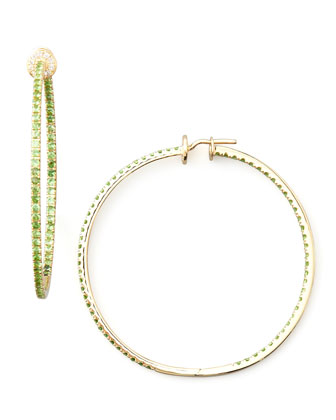 Pave Tsavorite Hoop Earrings