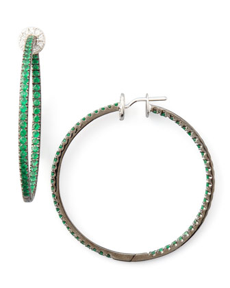 Pave Emerald Hoop Earrings