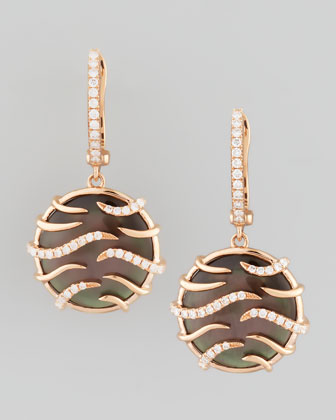 Luna Mini 18k Rose Gold Diamond Mother-of-Pearl Earrings, Black