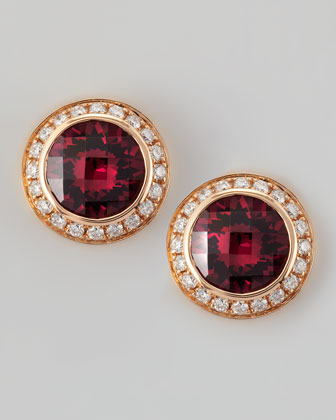 18k Rose Gold Rhodolite Stud Earrings