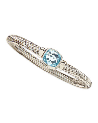 White Gold Primavera Cushion Blue Topaz Bangle