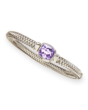 White Gold Primavera Cushion Amethyst Bangle
