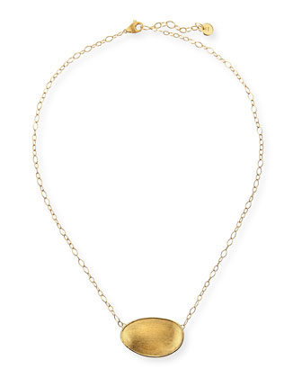 18k Gold Oval Pendant Necklace
