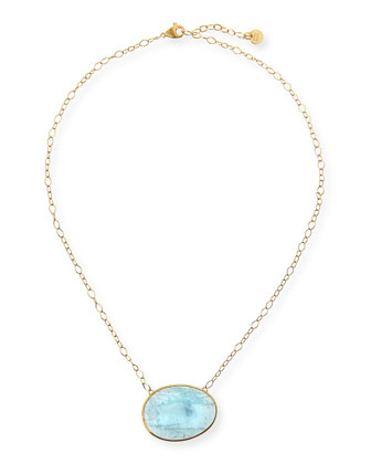 18k Gold Oval Aquamarine Pendant Necklace