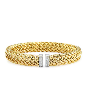 18k Gold Woven Bracelet with Diamond Ends