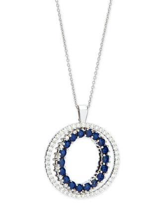 Double-Sided Diamond & Blue Sapphire Pendant Necklace