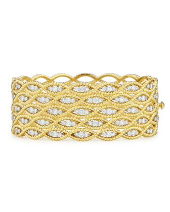 Barocco 18k Wide Diamond Bangle Bracelet
