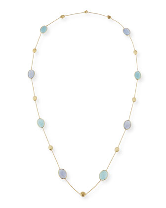 Siviglia Resort Aquamarine & Chalcedony Long Necklace
